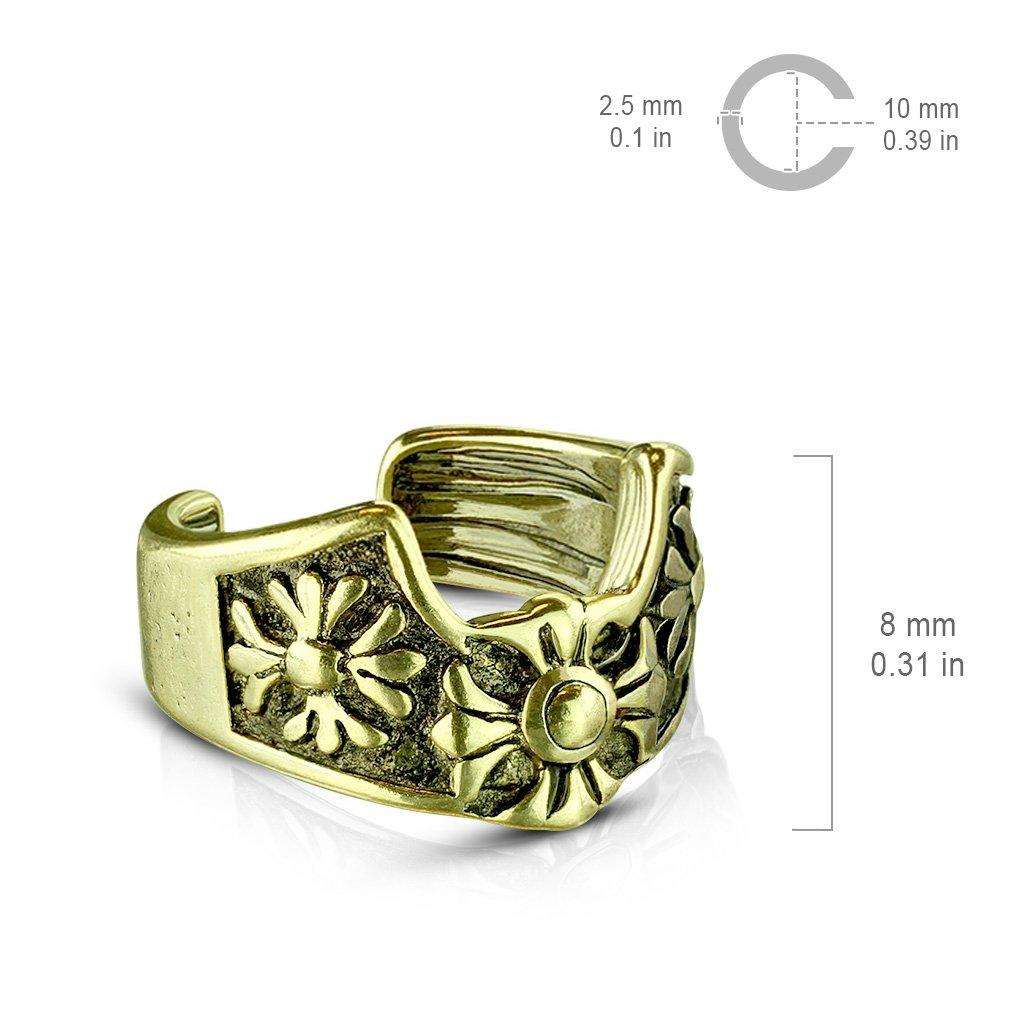 FifthCue Fleur de Lis Cross Brass Non-Piercing Ear Cuffs