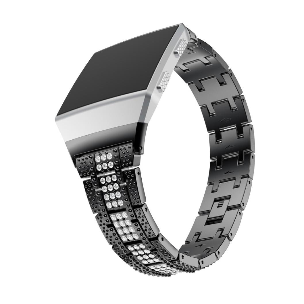 YJYdada Luxury Alloy Crystal Watch Band Replacement Wrist Strap For Fitbit Ionic (Black)