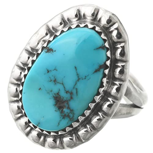 83d8799a3dd740 Image Unavailable. Image not available for. Color: Natural Turquoise Ladies  Sterling Ring Navajo Single Stone ...
