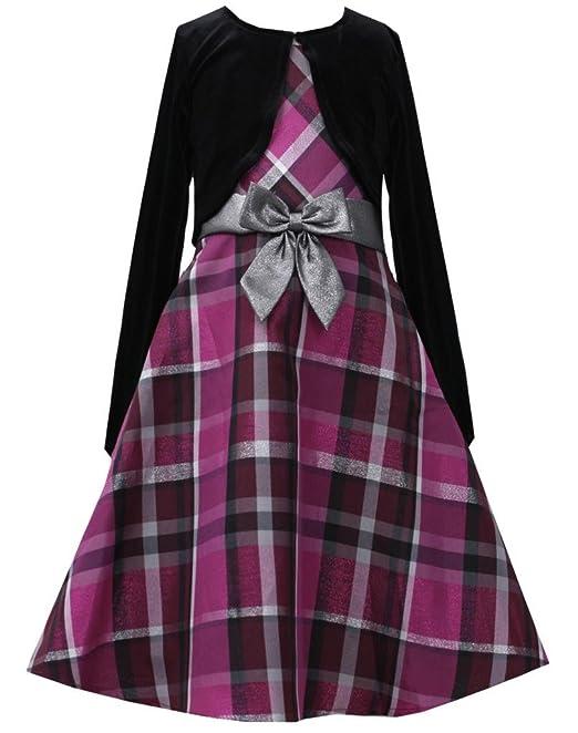 0d15c0b728d Fuchsia Silver Metallic Plaid Dress Jacket Set FU8MH Bonnie Jean Girl Plus- Size Special