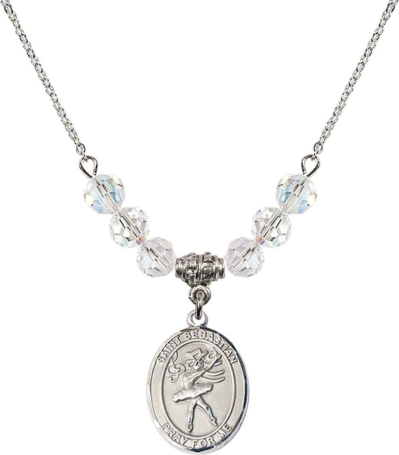 Bonyak Jewelry 18 Inch Rhodium Plated Necklace w// 6mm White April Birth Month Stone Beads and Saint Sebastian//Dance Charm