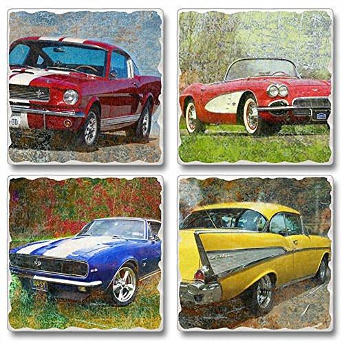 Classic Cars Square Assorted Tumbled Stone Coaster Set of 4, Highland Graphics Car Coaster Set