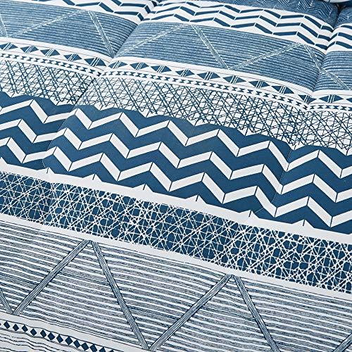 Joyreap 3pcs Comforter Set, Soft Microfiber Comforter for All Season, Navy Wave and Stripes on White Reversible Design (King, 102x90 inches)