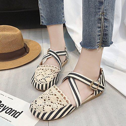 XING GUANG Été New Baotou Sandales Chaussures Étudiant Sauvage Respirant Flat Hole Chaussures Gentle Vent Rétro Fée Chaussures,Black(38) Black(36)