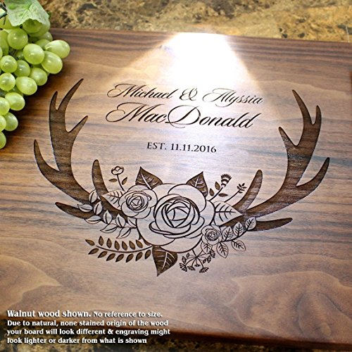 Amazon Deer Antlers And Flowers Personalized Engraved Cutting