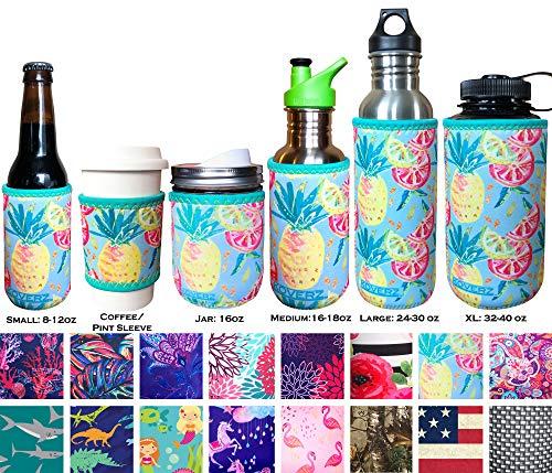 Koverz Neoprene Coffee Sleeve, Cup Grip, Drink Holder, Pint Sleeve - Pineapples