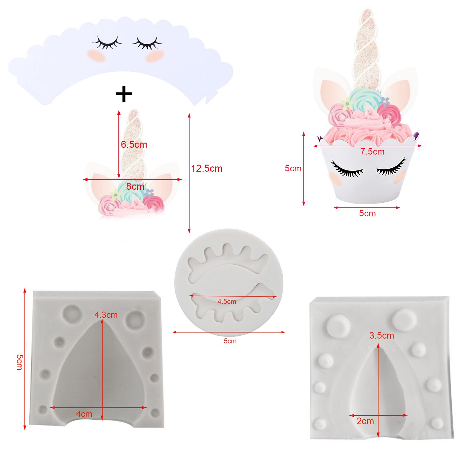 Kabi 5PCS Unicorn Silicone Cake Toppers Mold Set for Baking Cake Decoration Making Sugar Craft Candy Chocolate,with Unicorn Cupcake Toppers & Wrappers Double Sided 12 Sets by Kabi (Image #3)