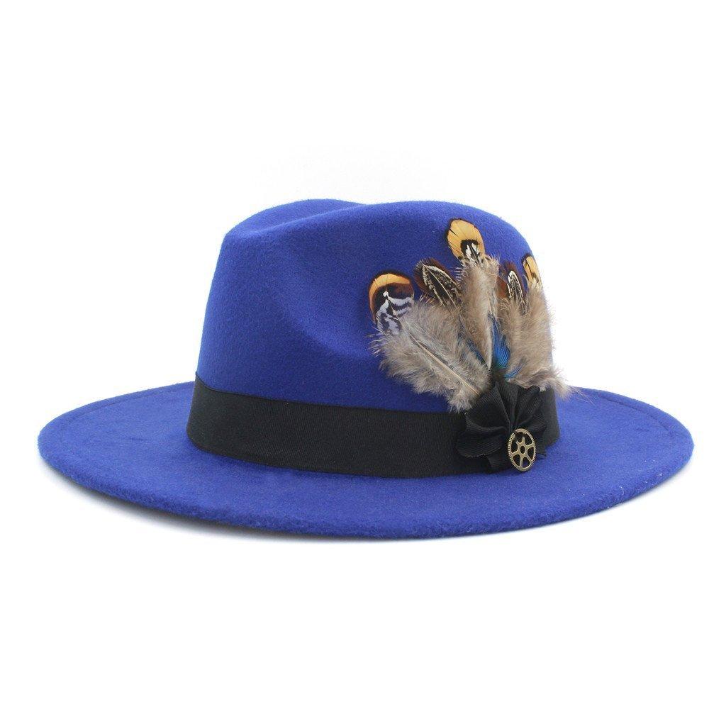 100% Wool Wide Brim Felt Trilby Fedora Hat for Womem Men Winter Auturmn Cashmere Gangster Church Hat Very Soft by Kinue