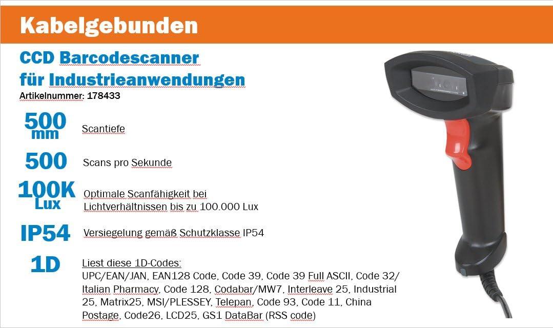 Manhattan 長距離 CCDバーコードスキャナー スキャン深度 500mm USB接続 178433