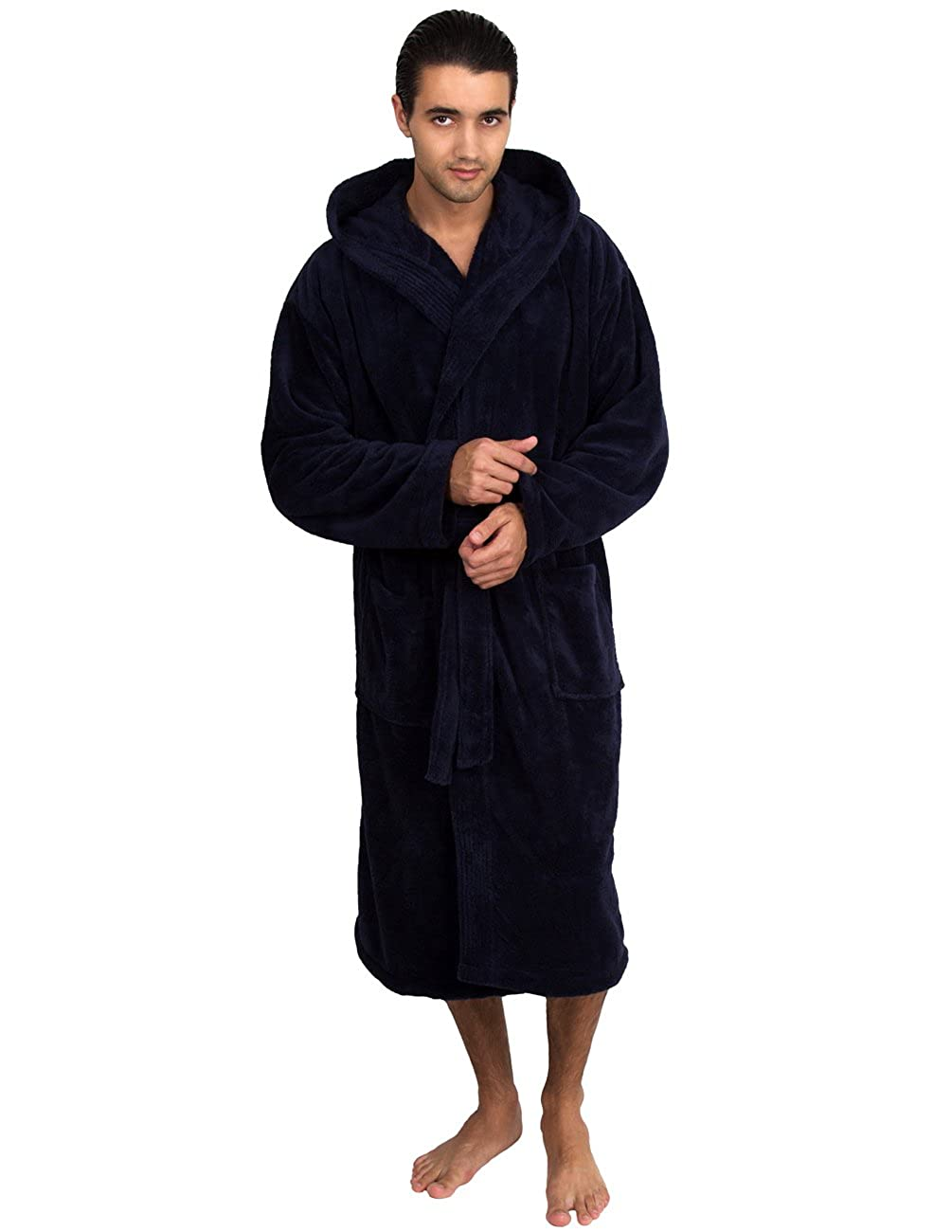 TowelSelections Men's Robe, Plush Fleece Hooded Spa Bathrobe, Made in Turkey