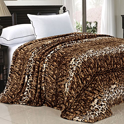 Home Soft Things BOON Light Weight Animal Safari Style ML Leopard Printed Flannel Fleece Blanket (Queen)