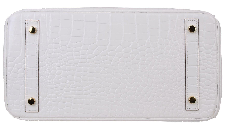 Cherish Kiss Padlock Bag Women Crocodile Leather Top Handle Handbags (35cm, Pure white) by Cherish Kiss (Image #5)
