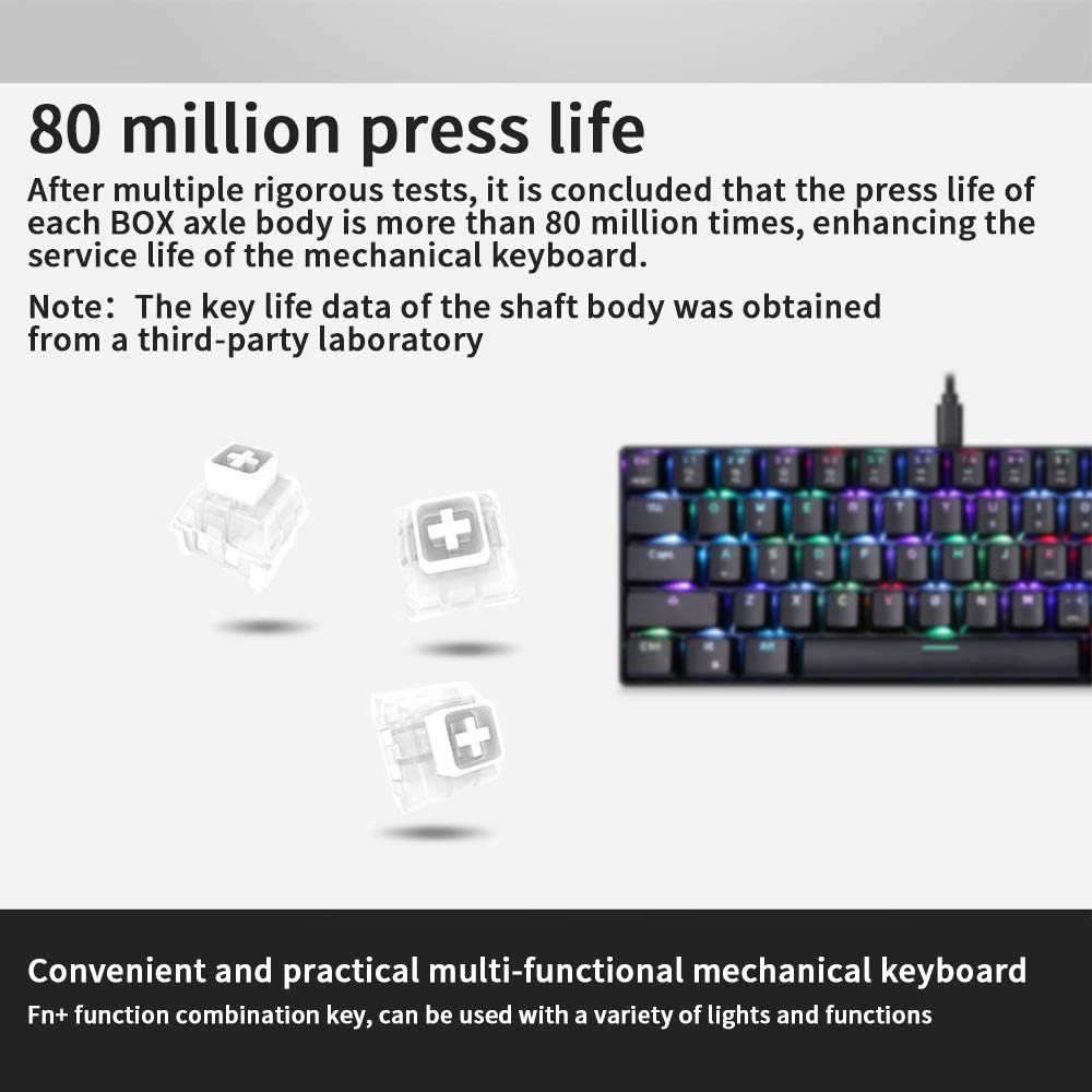 MOTOSPEED CK61 Box axis 61 Keys Wired pubg for LOL Game Special Mechanical Keyboard Desktop Notebook External Electric Competition Mini Portable Small Office Typing