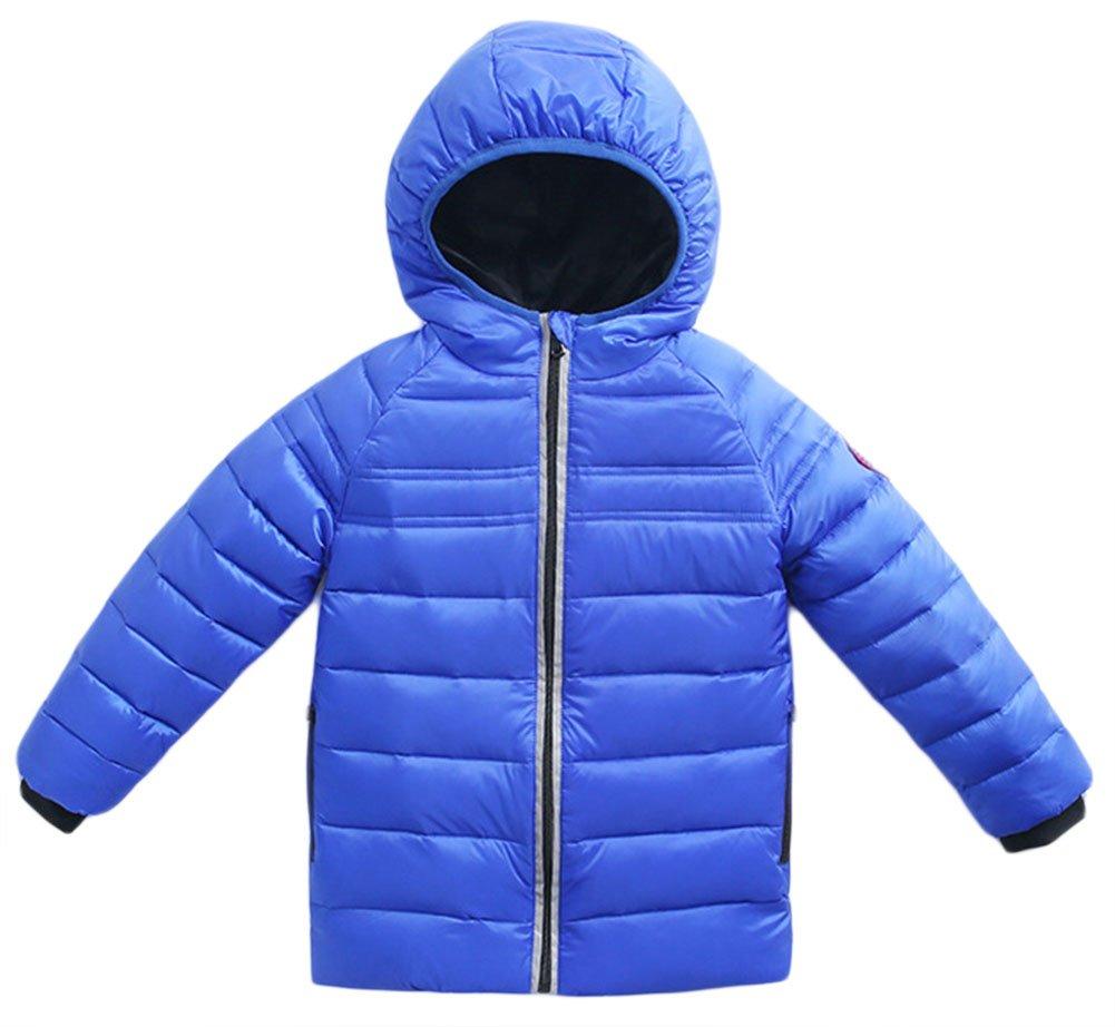 Roffatide Kids Quilted Packable Down Coat Lightweight Windproof Outwear Children Warm Puffer Jacket with Hood Royal Blue 110