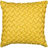 ini moni Decorative Cover for Couch Throw Pillow, Yellow Woven Pillowcase for Sofa Lumbar Cushion, (Pack of 1)