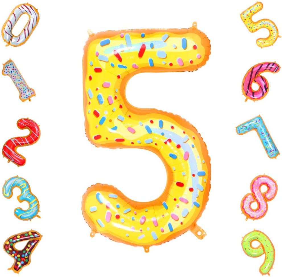 Donuts Number 7 Balloons,40 Inch Birthday Number Balloon Party Decorations Supplies Helium Foil Mylar Digital Balloons Donuts Number 7