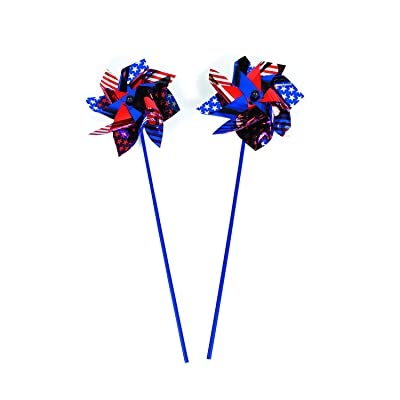 Large Patriotic Pinwheels (12 Pack) Jumbo Size - USA Flag Designs: Toys & Games