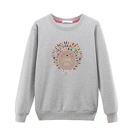 BeautyTop Frauen Rundhals Langarmshirts T-Shirt Damen O-Ausschnitt Drucken Sweatshirt Crewneck Pullover Casual und Lose Obert