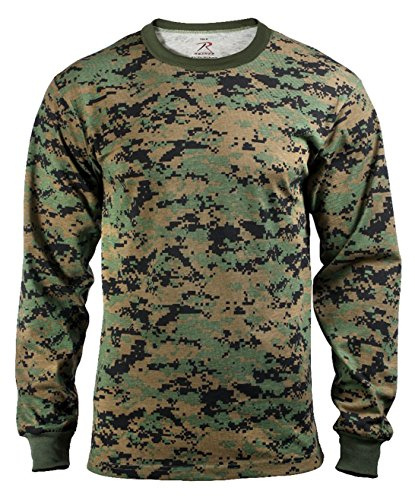 Rothco Long Sleeve T-Shirt, Woodland Digital, Medium