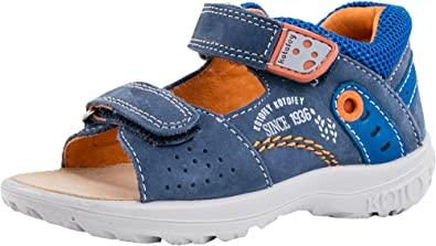 e19ee2022868f Kotofey Boys Blue and Orange Sandals 122070-25 Genuine Leather Shoes for  Kids - Orthopedic