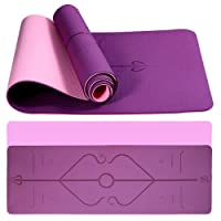 Rantizon Eco Friendly Yoga Mat - TPE Exercise Mat with Alignment Lines, Textured Non Slip Fitness Workout Mat with Carrying Bag, Fitness Mat for Training, Yoga, Pilates 183610.6cm