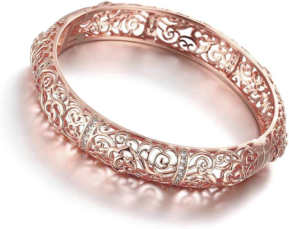 Epinki Gold Plated Bracelet Womens Bangle Bracelet Rose Gold Cubic Zirconia Hollow Shape Flower Shape