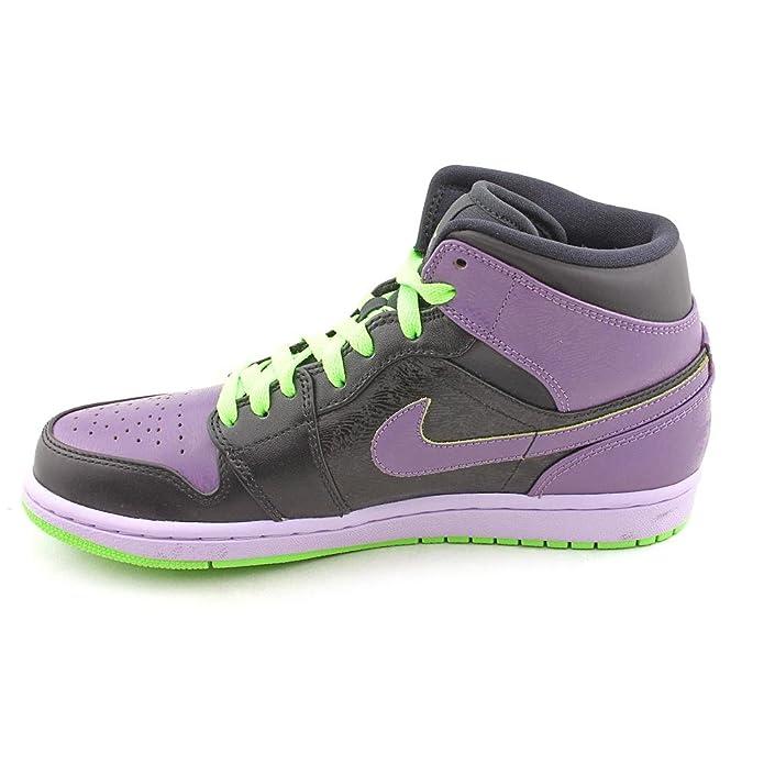 74638270025 Amazon.com | NIKE Air Jordan 1 Retro 136065 021 Mens Trainers Hi Top  Sneakers Black Electric Green Purple | Basketball