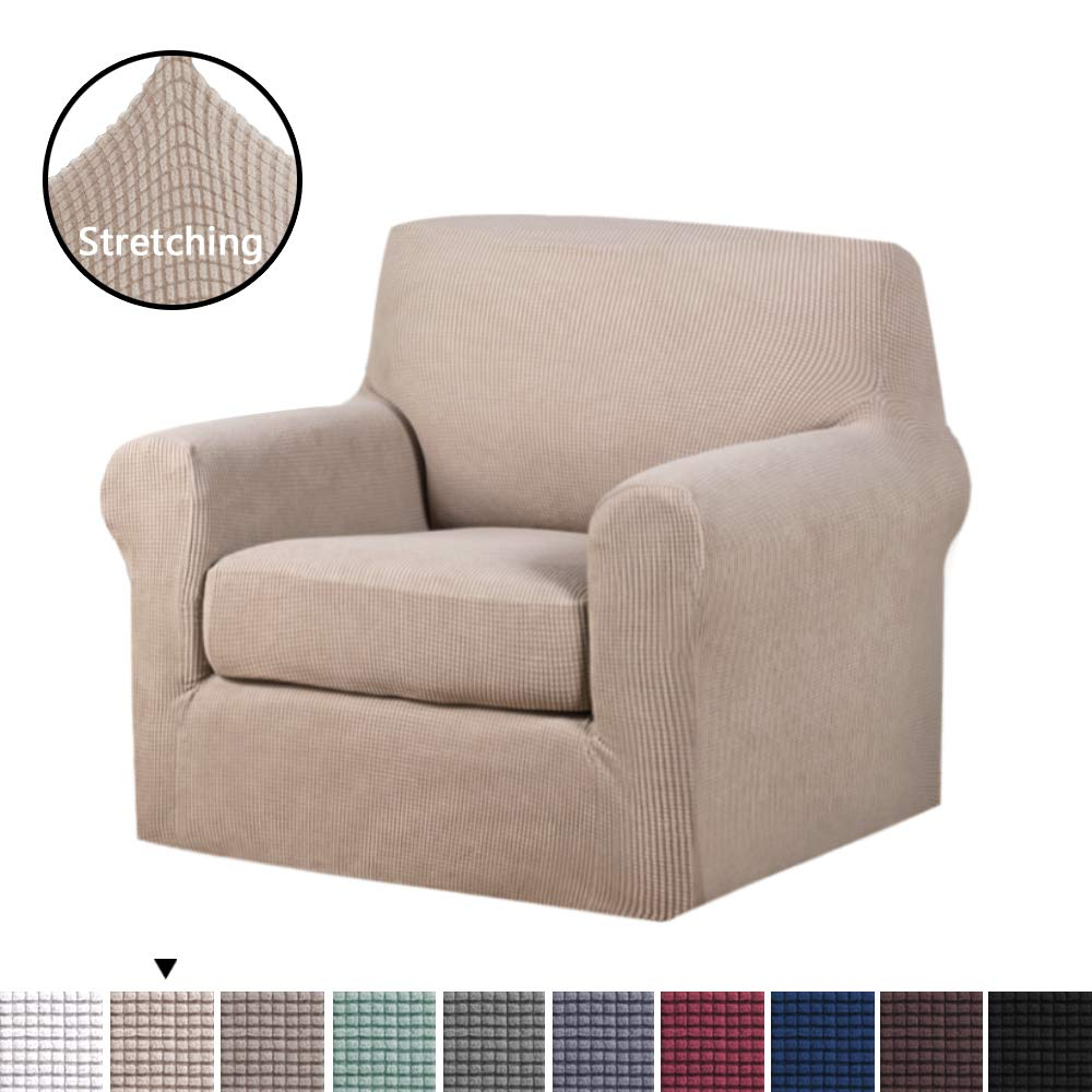 H versailtex stretch slipcovers sofa covers furniture protector with elastic bottom anti slip foams 2 pieces couch shield lycra spandex jacquard fabric