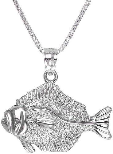 "Sterling Silver Small Bass Fish 3D Pendant 18/"" Italian Box Chain Charm"