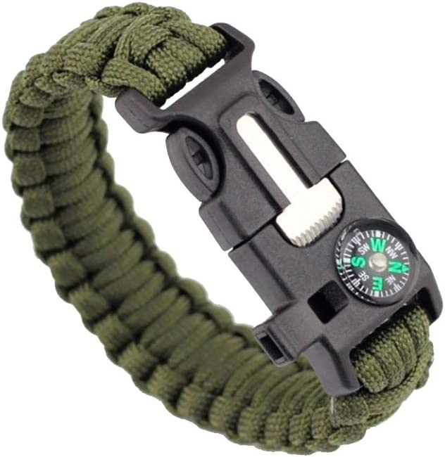 ZENDY Paracord Bracelet Corde avec racleur Firestarter Inoxydable et Un sifflet et Une Boussole Multifonction Survie en Plein air