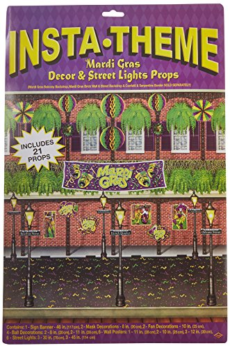 Mardi Gras Decor & Street Light Props Party Accessory (1 count) (21/Pkg) -