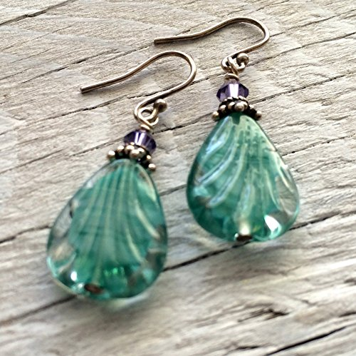 - Aqua Blue Glass Beaded Earrings with Bali Silver and Swarovski crystals