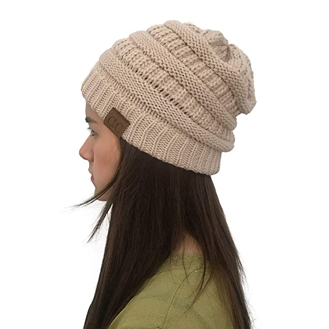 619ff67b550ad York Zhu Womens and Mens Beanie Hat - Slouchy Warm Reversible Beanie Hat -  Cream at Amazon Women s Clothing store