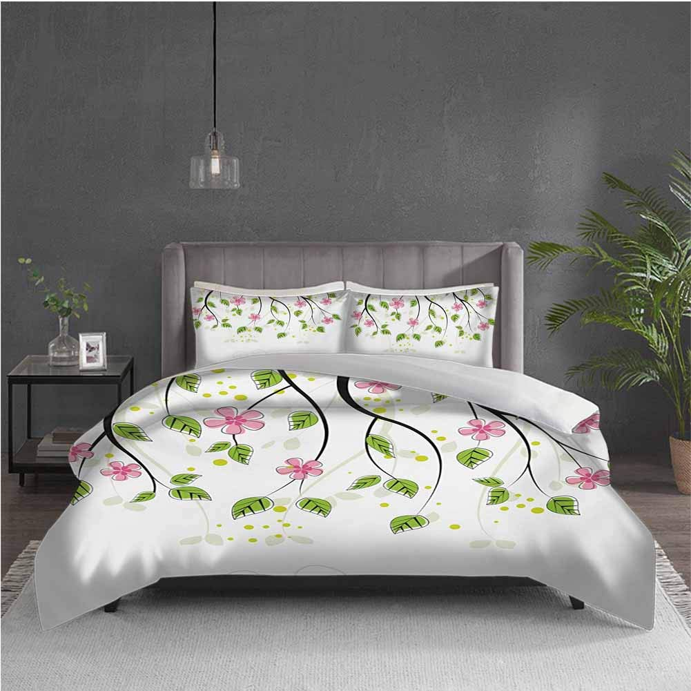 Floral Pure Bedding Hotel Luxury Bed Linen Branch with Flowers Leaves Cartoon Illustration Happy Childhood Summer Nature Art Polyester - Soft and Breathable (Twin) Pink Green