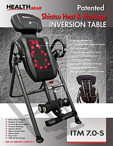 Health Gear ITM7.0-S Patented Deep Tissue Shiatsu Heat & Massage Inversion Table - Heavy Duty up to 300 lbs.