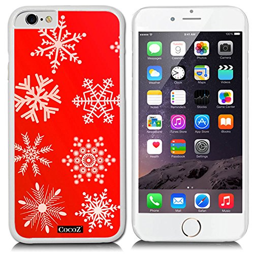 CocoZ® iPhone 6 s 4.7-inch Case red background with snowflakes Pattern PC Material Case (White PC & snowflakes 15) Blossom Hobo