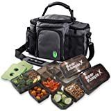 Bear KompleX Insulated Meal Prep Management Lunch Bag, 6 Compartment Lunch Box Cooler Tote with 3 Microwave Dishwasher Safe P