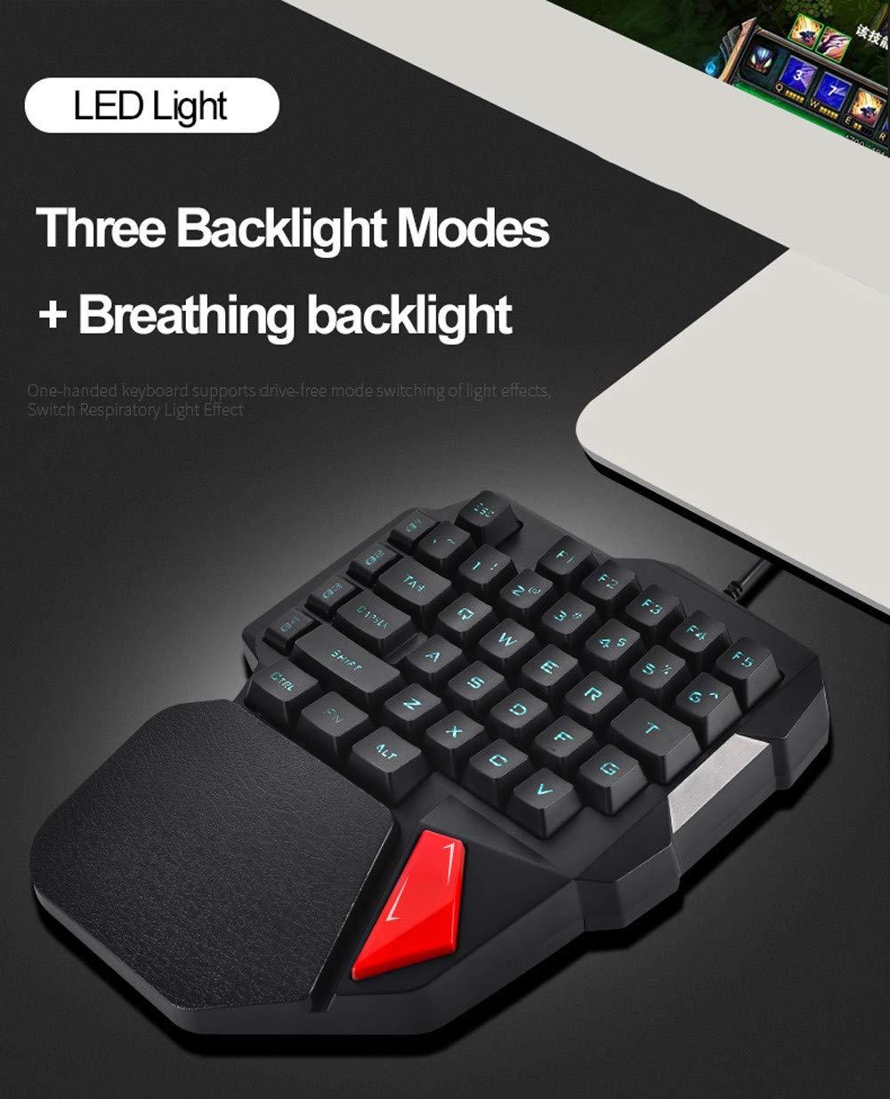 Hisoul One-Handed Gaming Keyboard, K108 Wired 38 Keys LED Backlit USB Ergonomic Gaming Keyboard for PUBG CNF and LOL Gamer (Black) by Hisoul (Image #5)