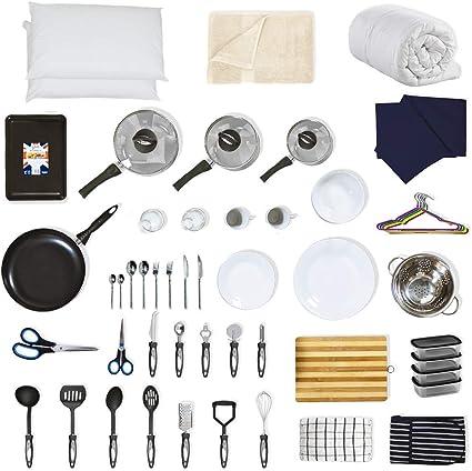 Noah's Box 60+ Piece Student Starter Kit - Bedding Pack (Duvet, Pillows, Bed Linen), Pan Sets, Kitchen Tools, Cooking Utensil, Tableware, Baking Tray, Cookware, Dinnerware Set (White, UK Single): Amazon.co.uk: Kitchen &