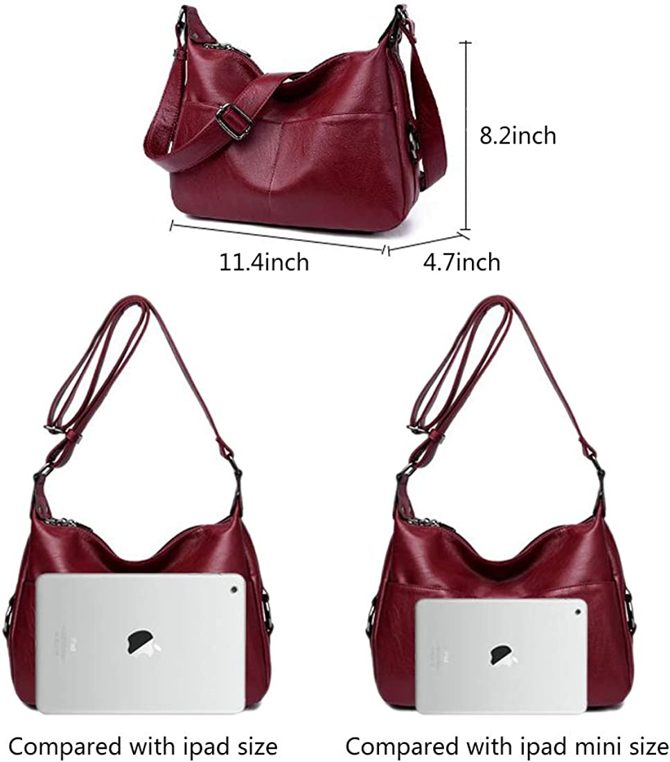 Mynos Women Large Sling Shoulder Bag Retro PU Leather Double Zippers Crossbody Tote Handbag