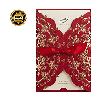 Amazon Com Wedding Invitations Cards Red With Floral Lace Ribbon