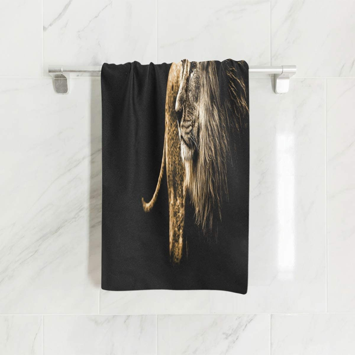 Mnsruu Serviette de Bain Motif Lion Noir 76 x 38 cm