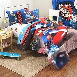 Amazon Com Super Mario The Race Is On Twin Full Comforter