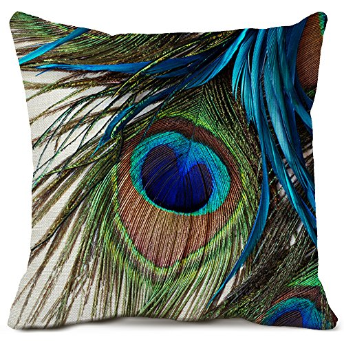 Peacock Feather Throw Pillow Covers Cotton Linen Pillow Cases Feather Cushion Covers Outdoors Home Pillow Covers 18x18 Inches