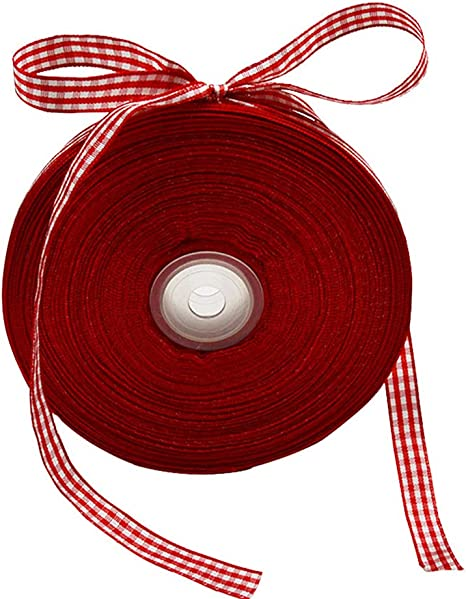Great for Hair Accessories Craft and Wrapping 3//8 x 50Yd Picnic Craft Ribbon VGoodall Red Gingham Ribbon