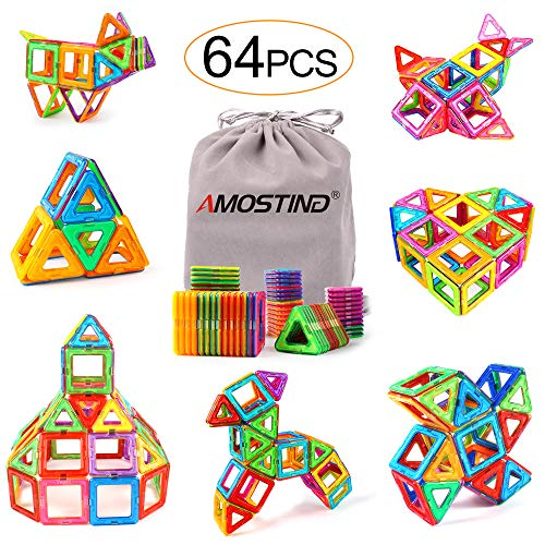 AMOSTING Magnetic Blocks for Kids, Magnetic Tiles Building Blocks Set STEM Educational Toys for Boys and Girls with Storage Bag - 64pcs