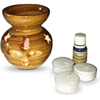 Pure Source India Ceramic Antique Wood Puchai Finish Aroma Burner with 10 Ml Night Queen Aroma Oil and 4 Tea Light Candle