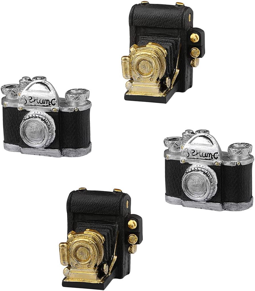 Dedoot Retro Camera Decor, Set of 4 Creative Resin Vintage Decoration Video Recorder Model Mini Ornament for Photo Props Home Decor Tabletop Decoration
