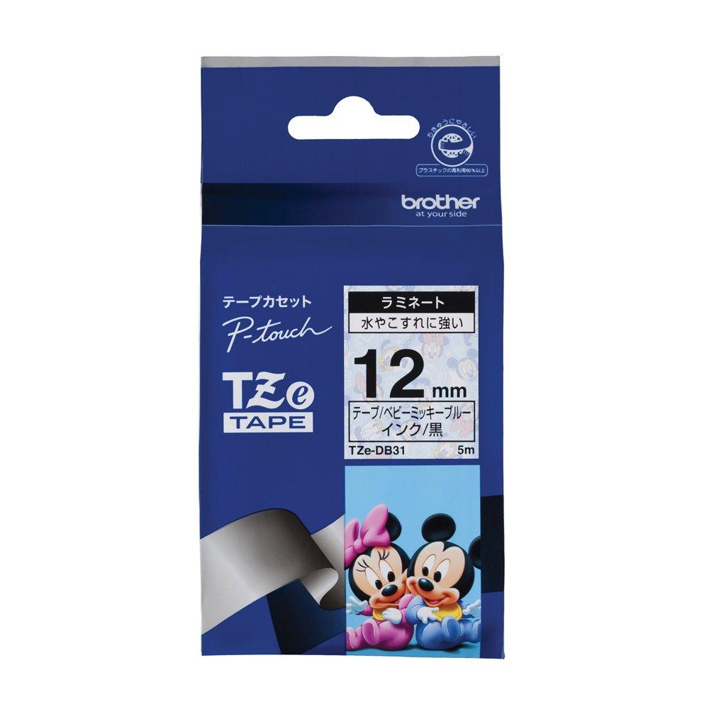 Brother TZe tape tape Disney (Mickey baby blue / black) 12mm TZe-DB31 (japan import)