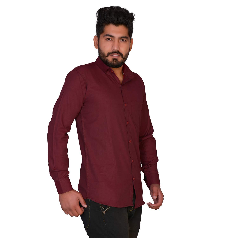 MD CreationsIndia Cotton Men/'s Kurta Shirt Slim Fit Handmade Solid Print Maroon Color Plus Size